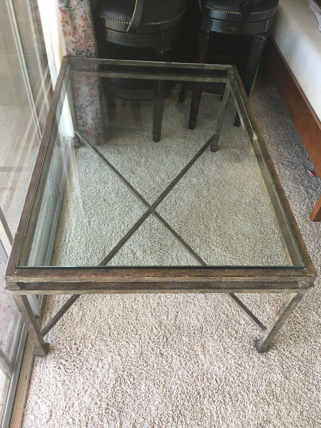 "Iron/Glass Coffee Table 33"" W x 48"" L"