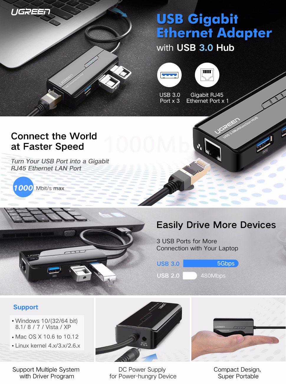 UGREEN Gigabit Ethernet Adapter with 3 Port USB 3.0 Hub