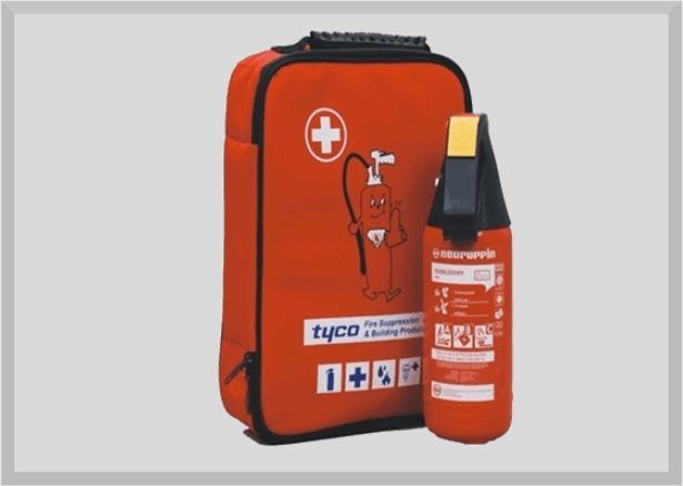 Erste-Hilfe-Set inkl. 2 kg Pulver Feuerlöscher P2