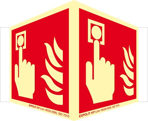 Alarmtaster Winkelschild, Alu