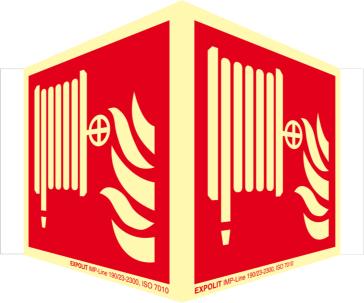 Löschschlauch Winkelschild, Alu