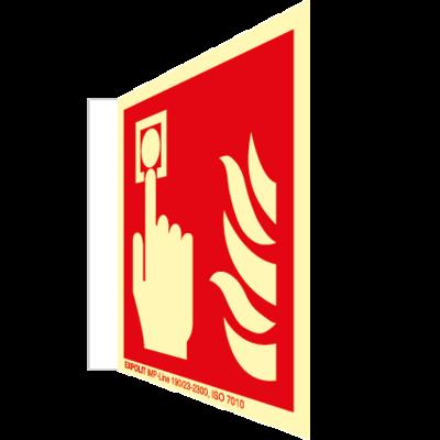 Alarmtaster Fahnenschild, Alu