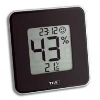 Elektronisches Hygro-/Thermometer Style,schwarz, mit Min.-/Max.-Speicher und Uhr
