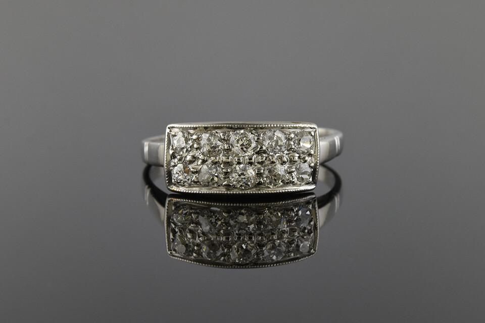Platinum and Diamond Double Row Ring