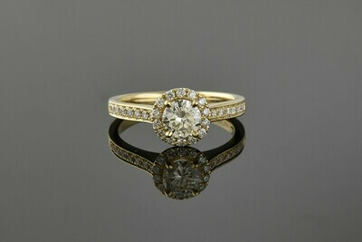 Yellow Gold Round Diamond Halo Engagement Ring