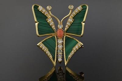 Malachite Butterfly Brooch