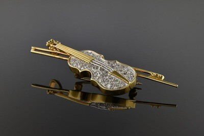 Diamond Cello Brooch/Pendant