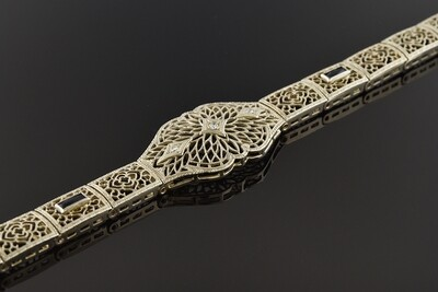 Filigree Bracelet with Diamond & Blue Trim
