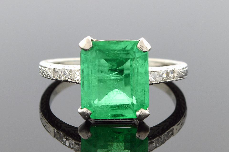 Item #1537 Art Deco Emerald and Diamond Ring 1537