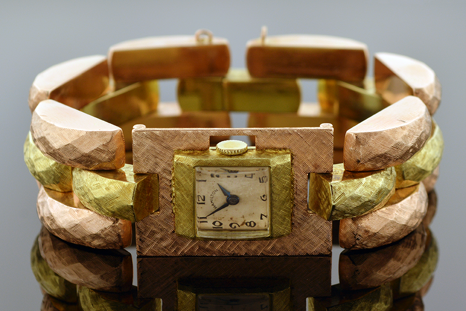 Item #9980 Ladies Hamilton Mechanical Gold Watch