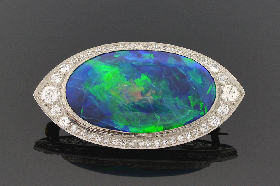 Item #4480 Art Deco Black Opal and Diamond Brooch 4480