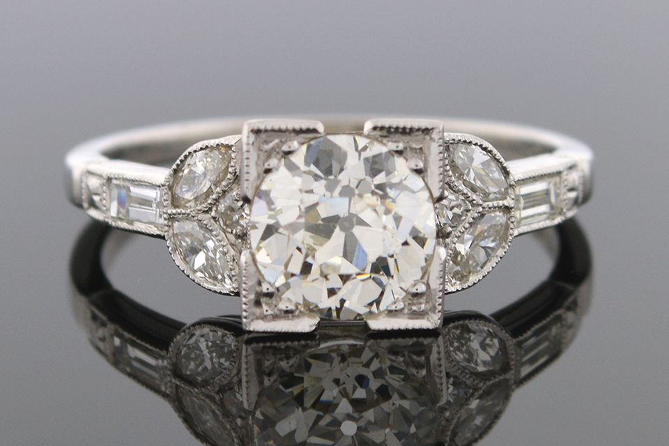 Item #4348 Art Deco Diamond Ring with a Hint of Floral 4348