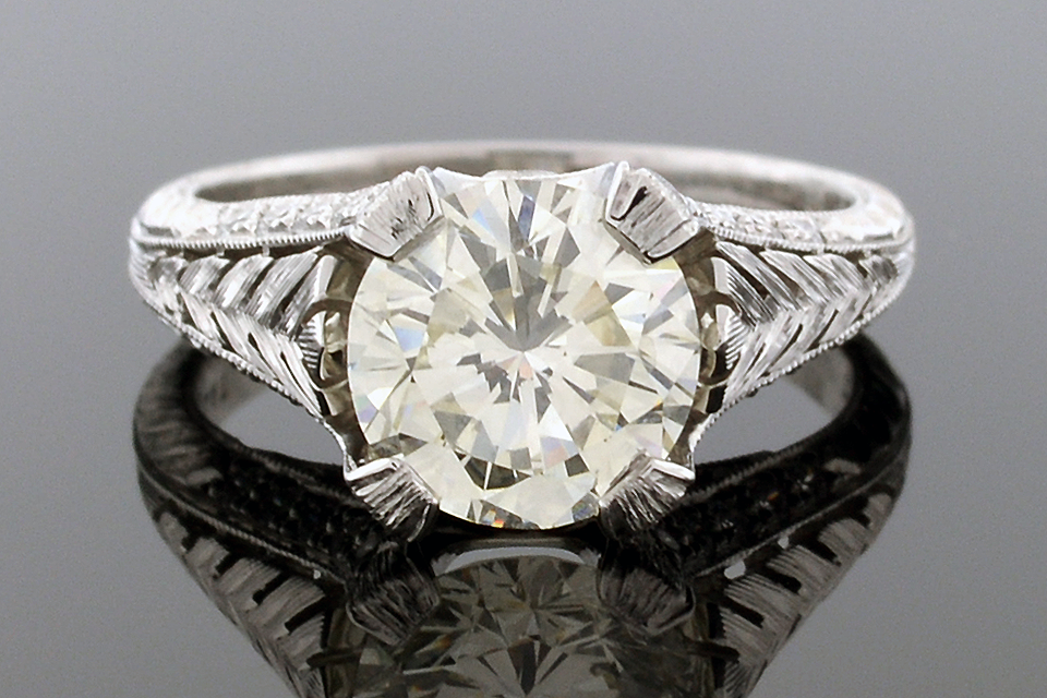 Item #4792 Carved Design Engagement Ring 4792
