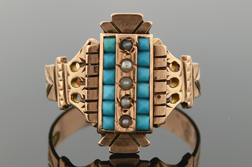 Item #1508 Victorian Handmade Turquoise and Pearl Ring 1508