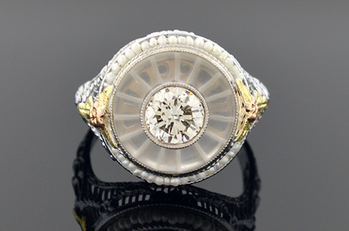 Item #4010 Diamond, Rock Crystal And Seed Pearl Ring 4010