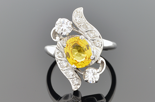 Item #4147 Vintage Yellow Sapphire Ring 4147