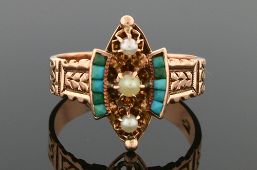 Item #SB138 Victorian Turquoise and Pearl Ring SB138