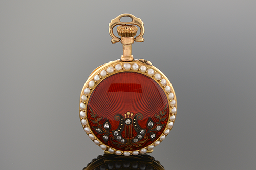 Item #5168 Deep Red Enamel Watch Pendant 5168
