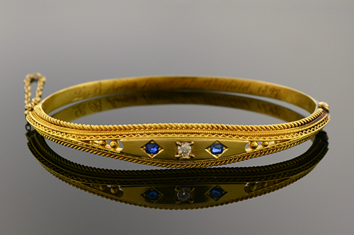 Item #1046 15 Karat Etruscan Revival Bangle Bracelet 1046
