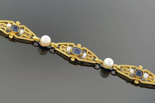 Item #4937 Art Nouveau Sapphire and Pearl Bracelet 4937