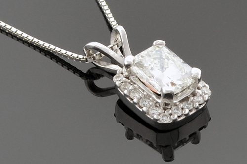 Item #1412 Halo Set Radiant Cut Diamond Pendant 1412