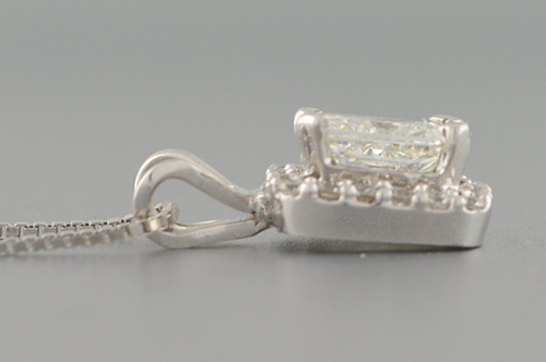 Item #1412 Halo Set Radiant Cut Diamond Pendant