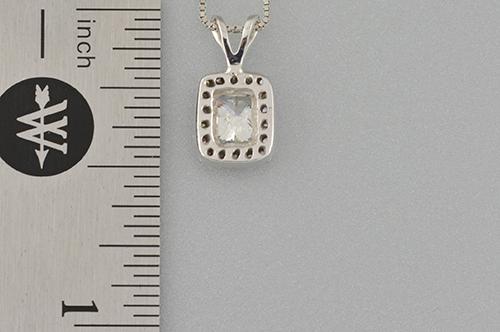 Item #1412 Halo Set Radiant Cut Diamond Pendant