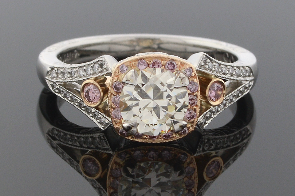 Item #5461 Pink Diamond Trimmed Engagement Ring 5461