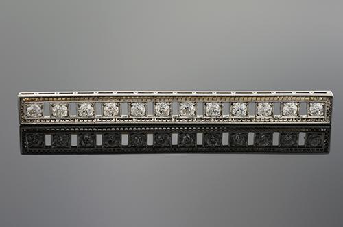 Item #1062 Art Deco Diamond Bar Brooch 1062