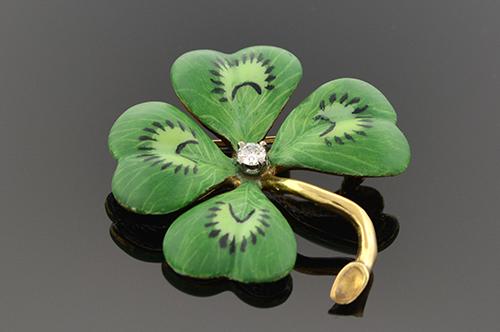 Item #1574 Enamel Four Leaf Clover Brooch 1574