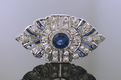 Item #9274 Art Deco Diamond And Sapphire Brooch 9274