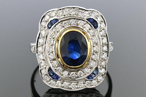 Item #4028 Low Profile Sapphire and Diamond Ring 4028