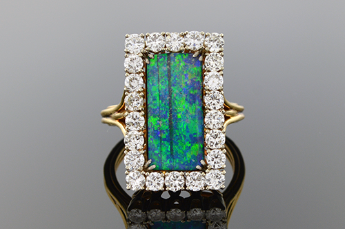 Item #4390 Boulder Opal Ring Surrounded by Diamonds 4390