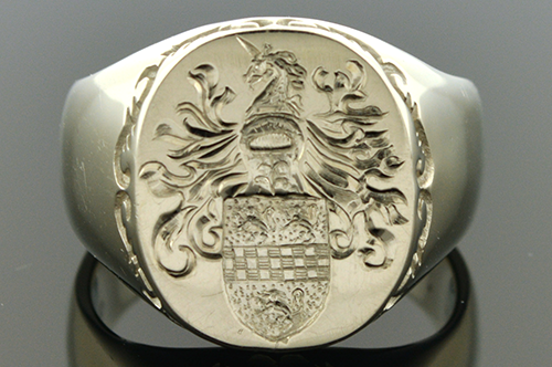 Item #4547 Hand Carved Gents Family Crest Ring 4547