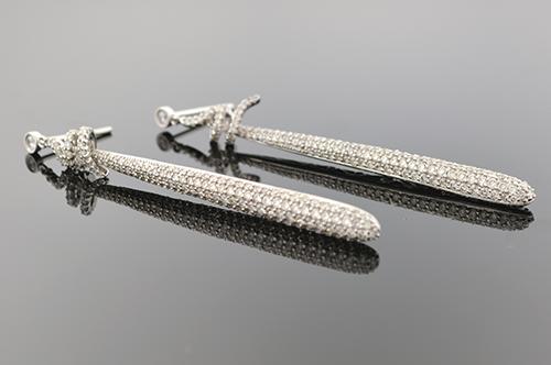 Long Pave Diamond Drop Earrings