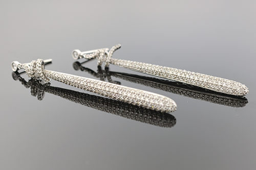 Item #5057 Long Pave Diamond Drop Earrings 5057