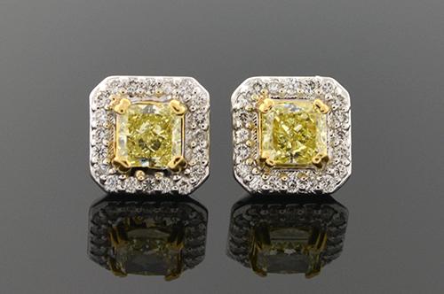 Item #4160 Fancy Yellow Diamond Earrings 4160