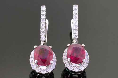 Item #4179 Ruby And Diamond Dangle Earrings 4179