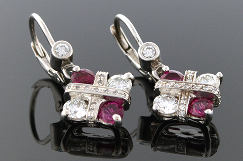 Item #4545 Modern Ruby & Diamond Dangle Earrings 4545