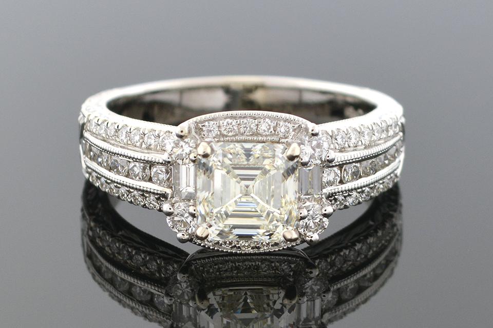 Item #5339 Asscher Cut Diamond Engagement Ring 5339