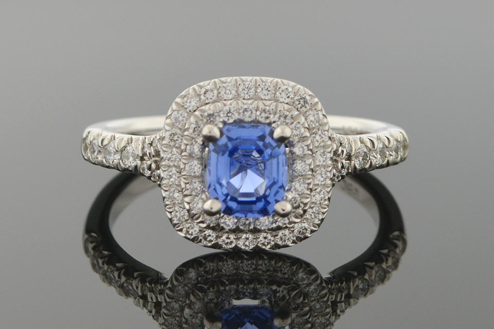 No Heat Sapphire and Diamond Ring