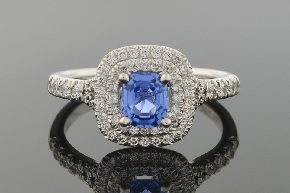 Item #5472 No Heat Sapphire and Diamond Ring 5472