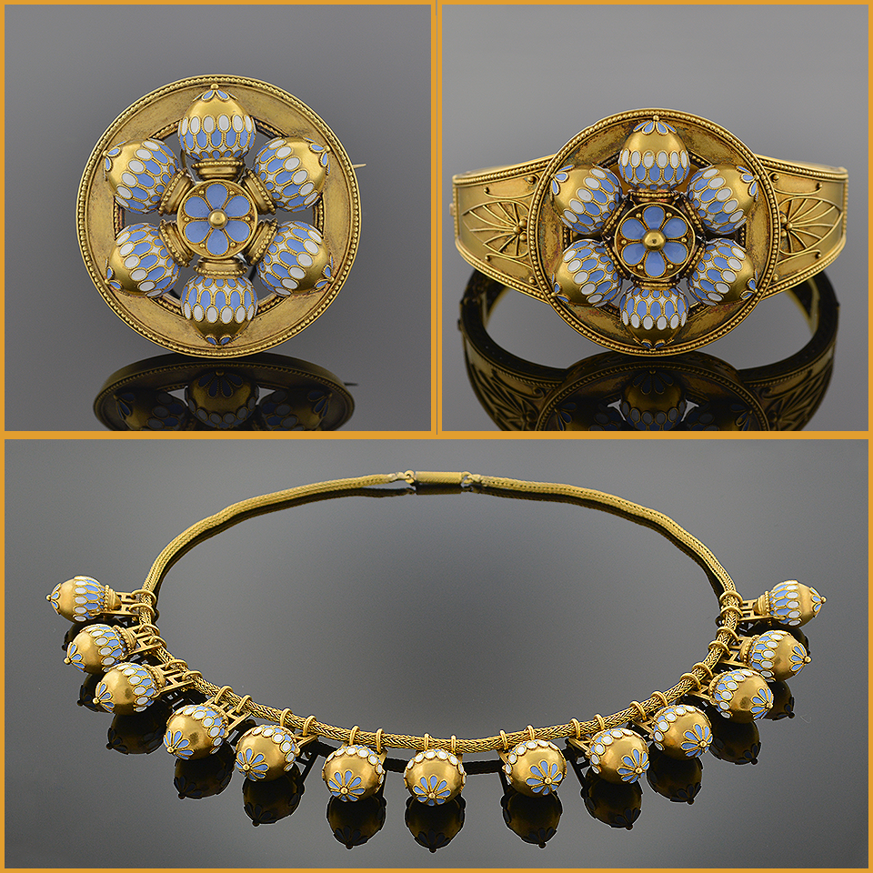 Gold and Bi-Color Opaque Enamel Demi Parure 5514