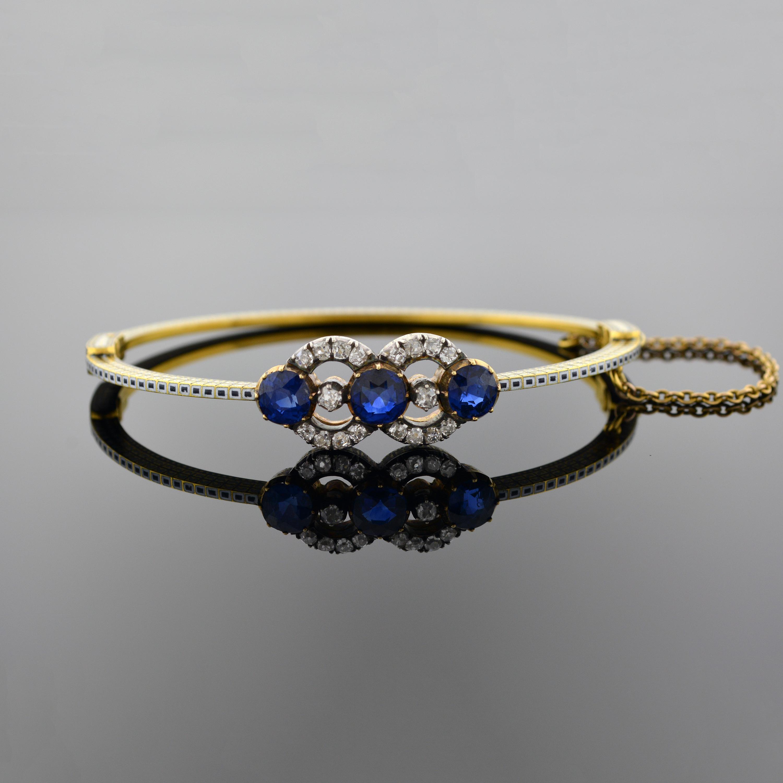 Sapphire Diamond and Enamel Bangle Bracelet 5515