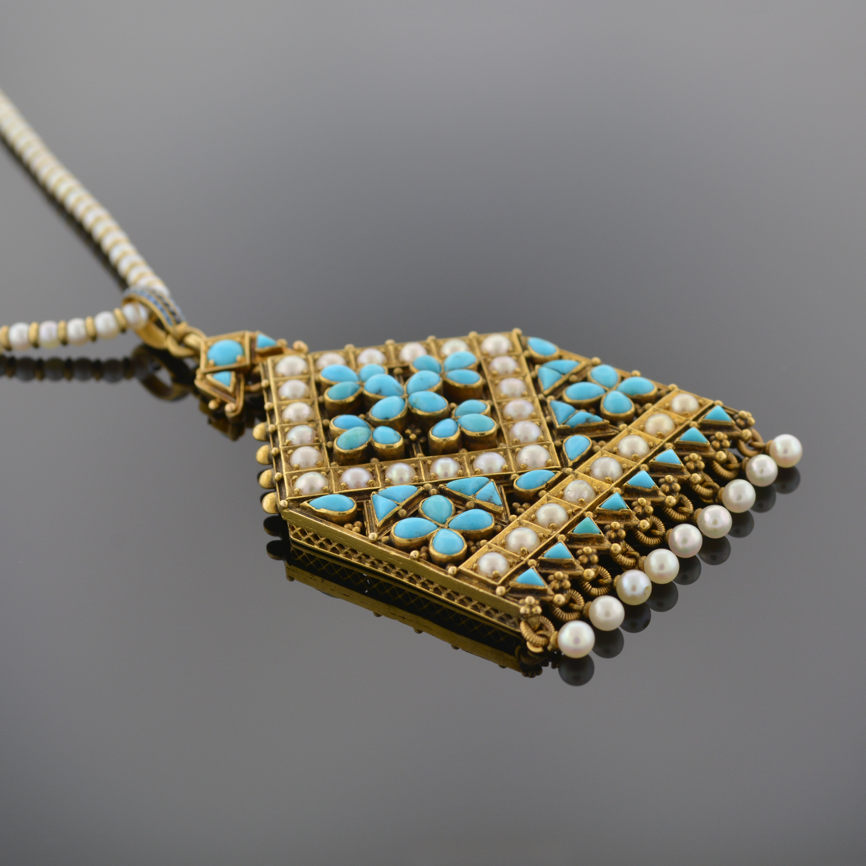 Natural Pearl and Persian Turquoise Pendant 5519