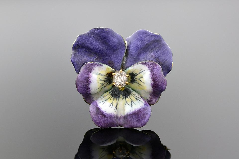 Item #5541 Purple Enamel Pansy Diamond Brooch 5541