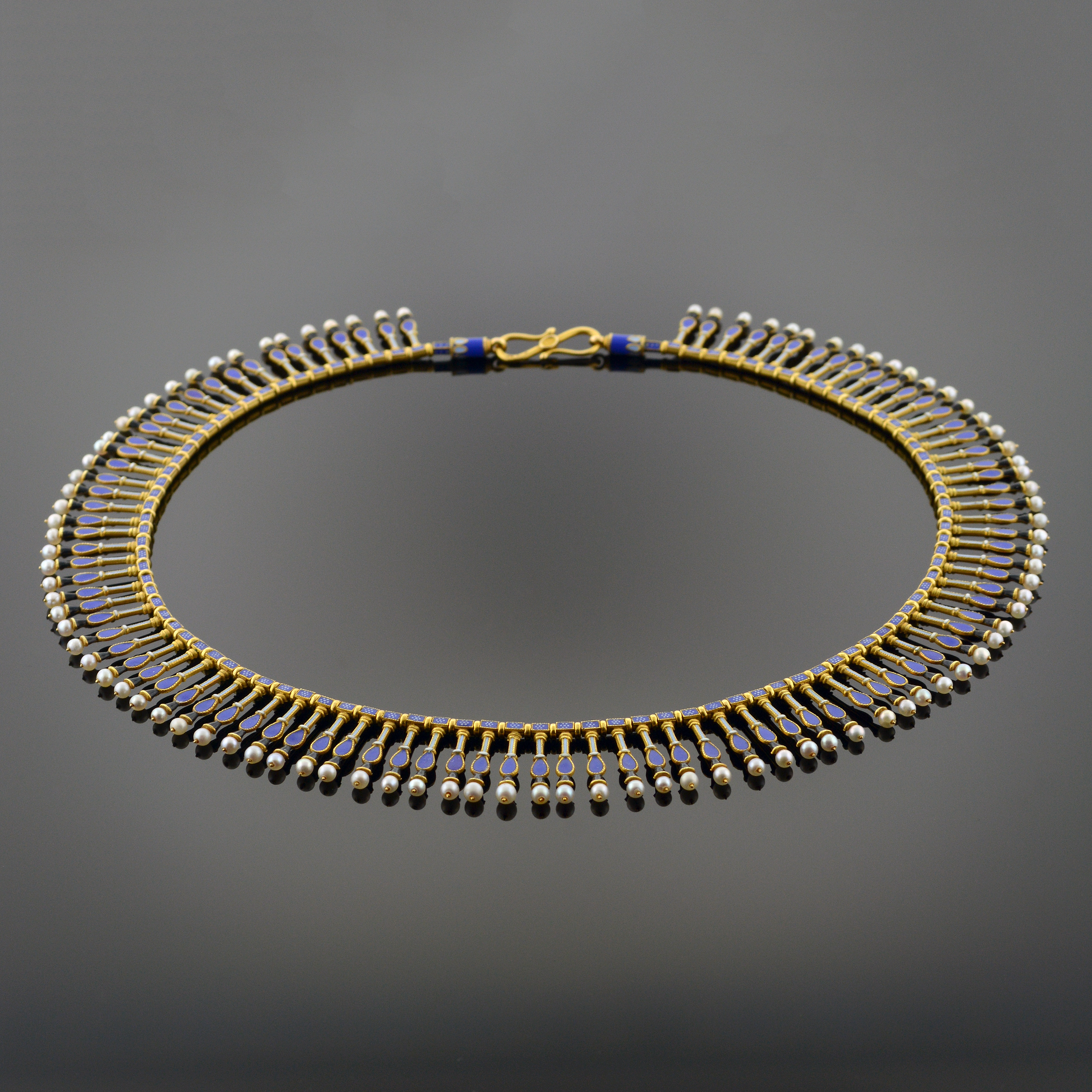 Important Gold, Enamel, and Pearl Fringe Necklace 5523