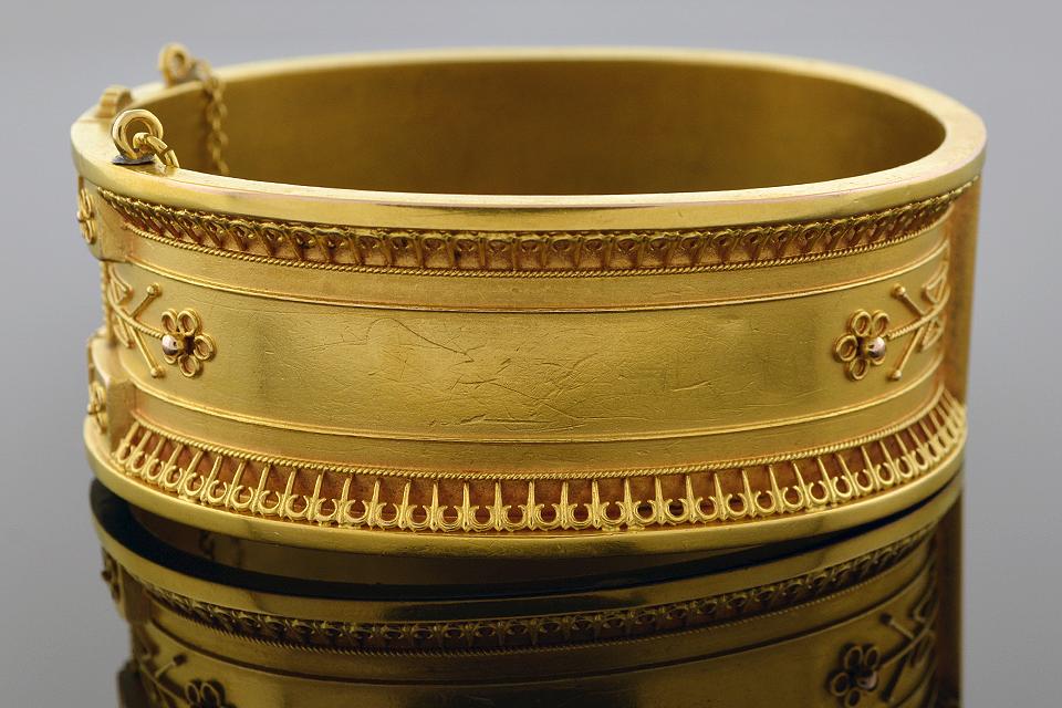 Item #4830 Wide Etruscan Bangle Bracelet 4830