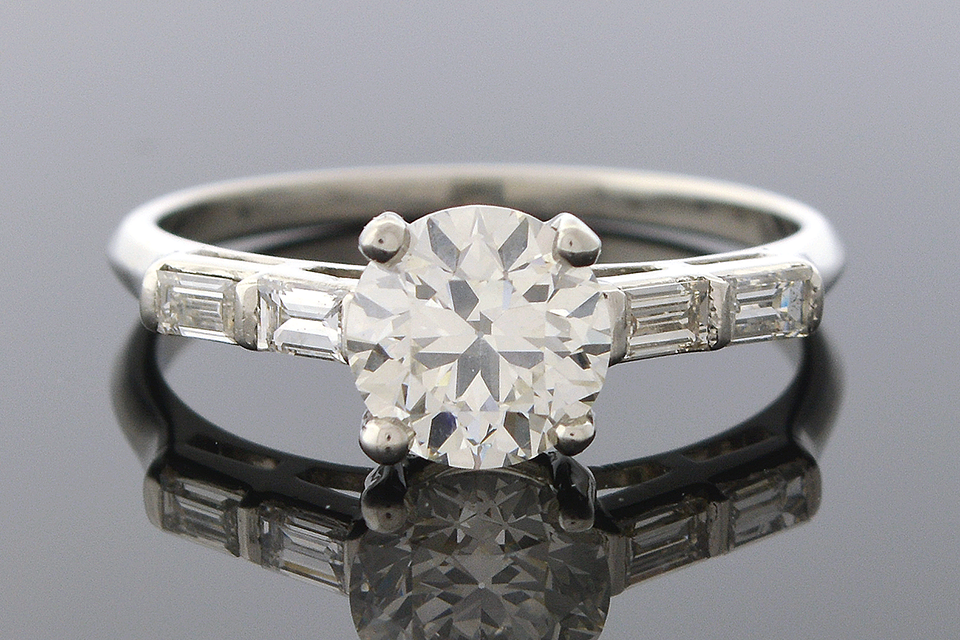 Item #5082 Diamond Engagement Ring with Double Baguette Sides 5082