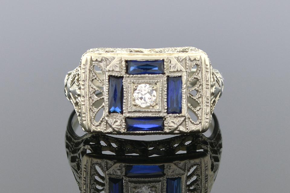 Item #1719 Art Deco Filigree Ring 1719